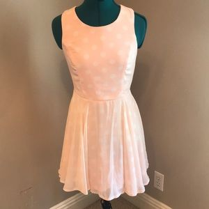 LIKE NEW PINK AND WHITE POLKA DOT DRESS size small